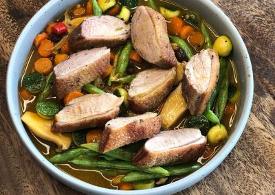 Duck-Breast-with-Orange-Saucewith-Spicy-Green-Brans
