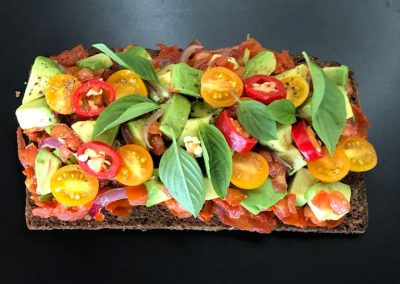 Spanish tartine with Chorizo